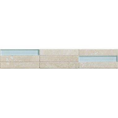 70100 staebchen travertino chiaro aqua bord - 70100 Travertino & Aqua Glas Mosaik